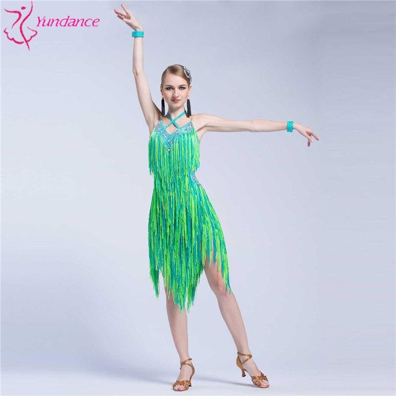 L-16130 New Latin dance competition dress women cross v-neck samba cha cha dance costumes handmade tassels dress
