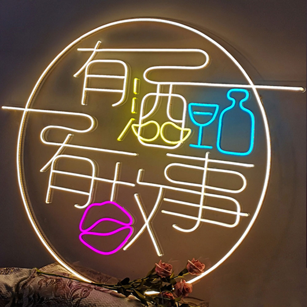 Customized Flex Neon Strip With Acrylic Back Panel PVC Round Neon Signs Full Color Lights Neon Logo Signs For Coffee And Shop