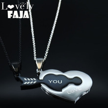2PCS 2019 Sword Heart Stainless Steel Couple Necklace for Women Black Silver Color Necklaces Pendants Jewelry gargantilla N19386 enmayer woman knee high boots women shoes winter boots shoes women real leather thigh high booty fashion knight boots cr1967