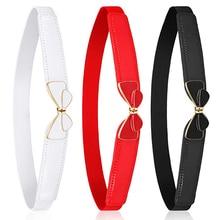 Fashion Bow Belt Cummerbunds With Buckle Thin Elastic