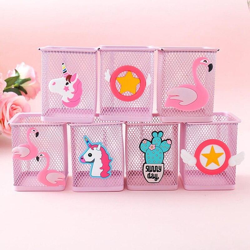 1 Pc Kawaii Pink Unicorn Cactus Flamingo Square Stationery Storage Box Manage Case Pencil Pen Holder Stand Student Stationery