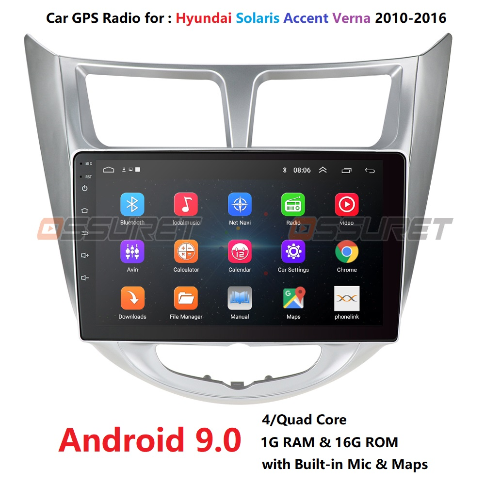 Android 9.0 Quad Core Double Din Car NON DVD player <font><b>GPS</b></font> Navigation For <font><b>Hyundai</b></font> Solaris Verna 2011 2012 2013 - 2016 image