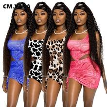 CM.YAYA Tie Dye Leopard Cow Two 2 Piece Set for Women Tracksuit Street Outfits Tank Crop Top + Midi Drawstring Mini Skirt Set