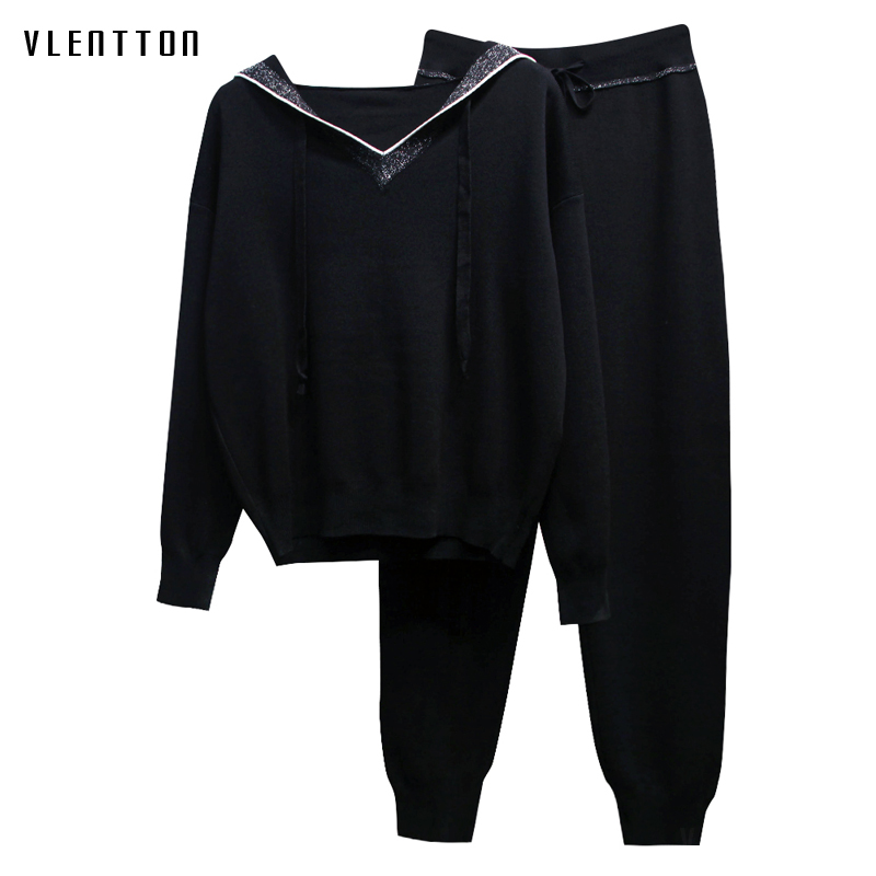 Autumn Winter Black Tracksuit Women Knit Hooded Pullover Sweatshirts+Pants Suit Casual Sport Two Piece Set Female Outfits Mujer