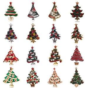 Rinhoo Rhinestone Crystal Christmas Tree Brooches Women Trendy Exquisite Pins Gift Sweater Dress Accessories Christmas Jewelry