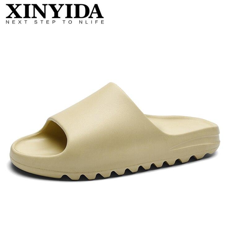 Unisex Summer Fish Mouth Flat Slippers Slip On Breathable Yeez Beach Sandals Bone White Flip Flops Slides Men Women Size 35-46