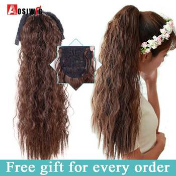 AOSIWIG Long Corn Curly Hair Ponytail for Women Heat Resistant Synthetic Clip in Hair Extensions Pony Tail Hairpieces elegant long synthetic stylish long shaggy curly clip in hair extension for women