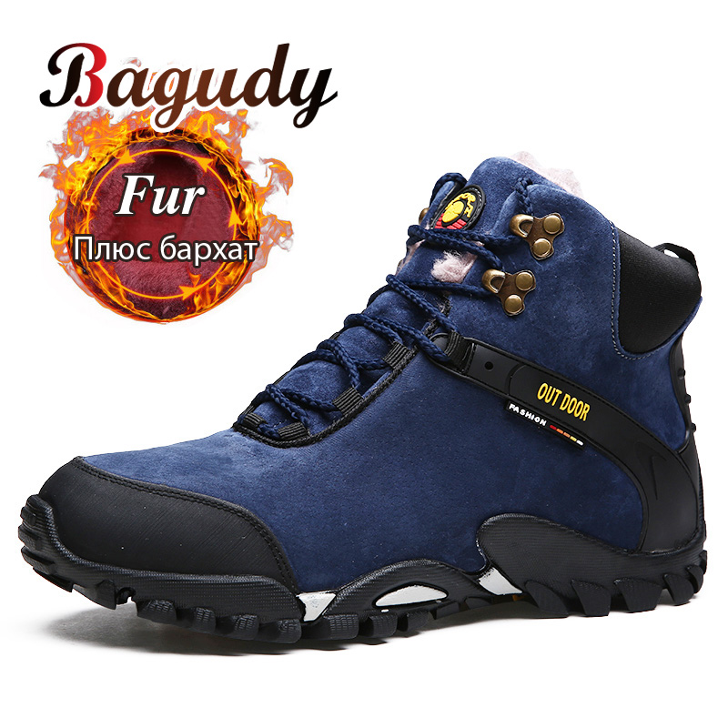 Super Warm Men Winter Leather Snow Boots Outdoor Leisure Boots Warm Fur&Plush Lace Up Sneakers Boots Men Winter Boots Work Shoes