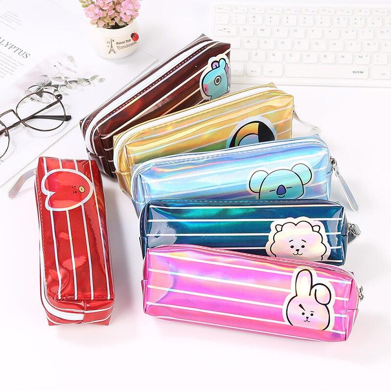 Kawaii Cartoon Laser Pencil Case Gift Estuches School Pencil Box Pen Case School Supplies Stationery