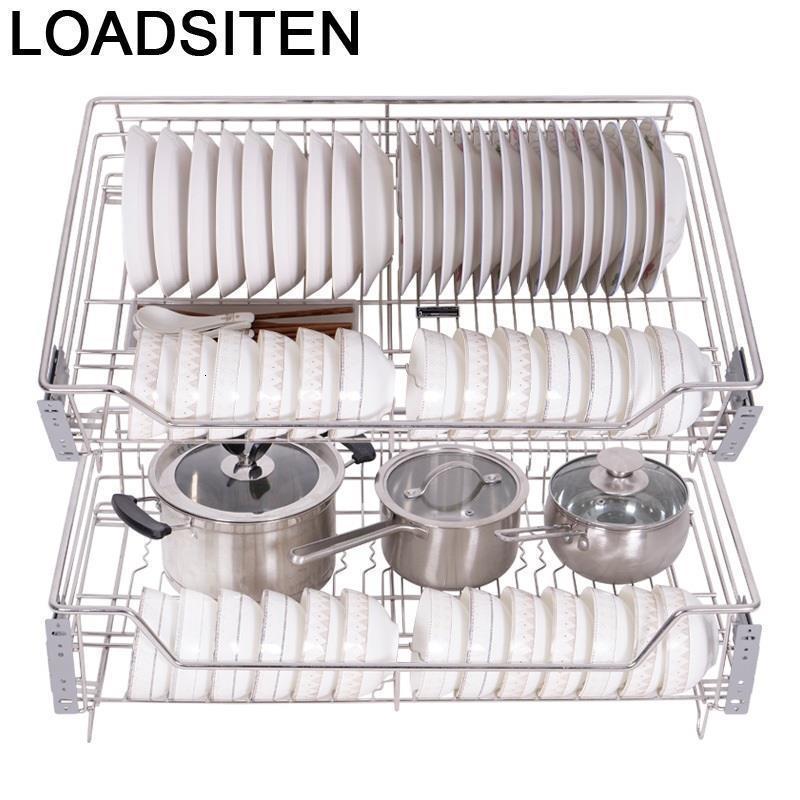 Acessórios organizar para armario dish drainer despensa gabinete rack de aço inoxidável organizador cozinha cesta armário