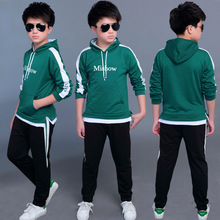 Модный детский спортивный костюм с надписью для мальчиков, комплект одежды на весну и осень для подростков, Топ с длинным рукавом и капюшоном и штаны, 2 шт., детская одежда