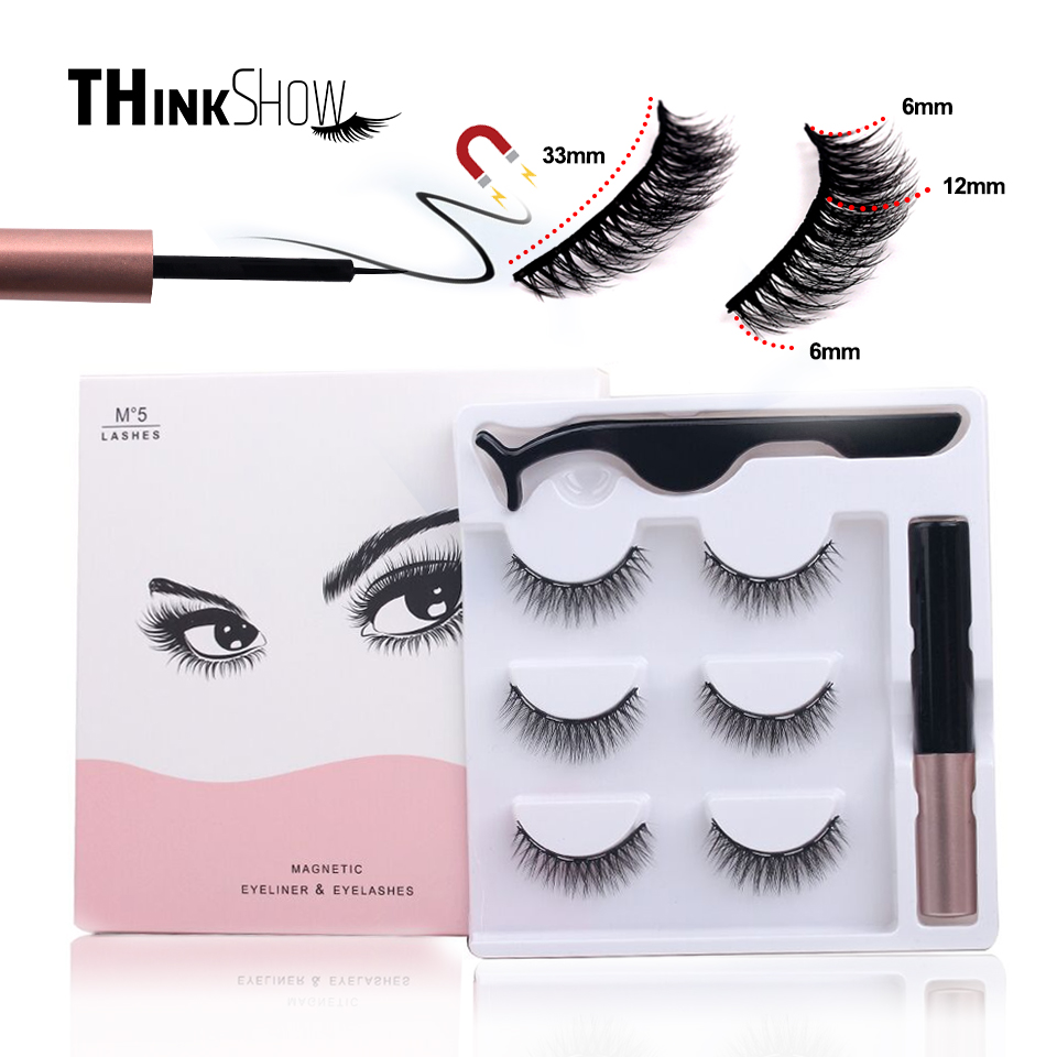 TS 3 Pairs <font><b>Magnetic</b></font> <font><b>Eyelashes</b></font> Liquid <font><b>Eyeliner</b></font> & <font><b>Magnetic</b></font> False <font><b>Eyelashes</b></font> & Tweezer <font><b>Set</b></font> Waterproof Long Lasting <font><b>Eyelash</b></font> Extension image