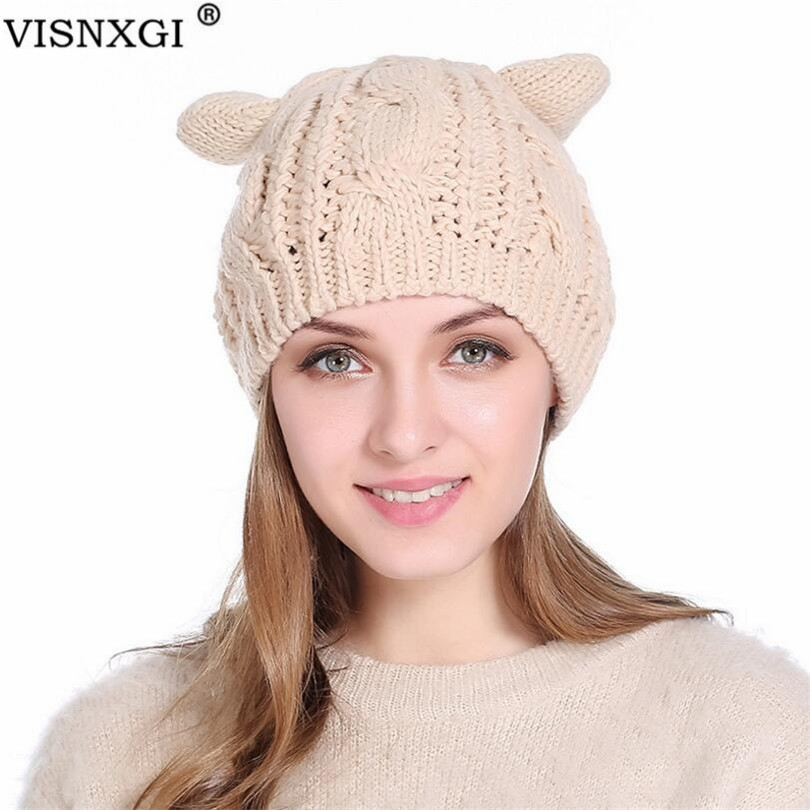VISNXGI Cute Cat Ears Hat   Beanie   Women Warm Solid Color Hip-hop Cap Lady Girls Winter Knitted   Skullies     Beanies   Casual Wool Caps