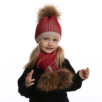 Baby Winter Hat For Girls Boys Real Fur Pompom Kids and Scarf Set Striped Knitted Beanies Skullies