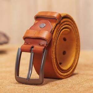 Image 1 - VAMOS KATOAL Men leather belt,Retro top quality Genuine Leather Belts for men, Male metal Pin Buckle belt