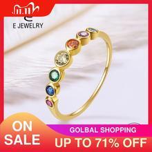 E prawdziwe srebro 925 pierścień tęczy damskie pierścionki z kolorowymi sześciennymi cyrkoniami 14K pozłacane wieczność obrączki biżuteria