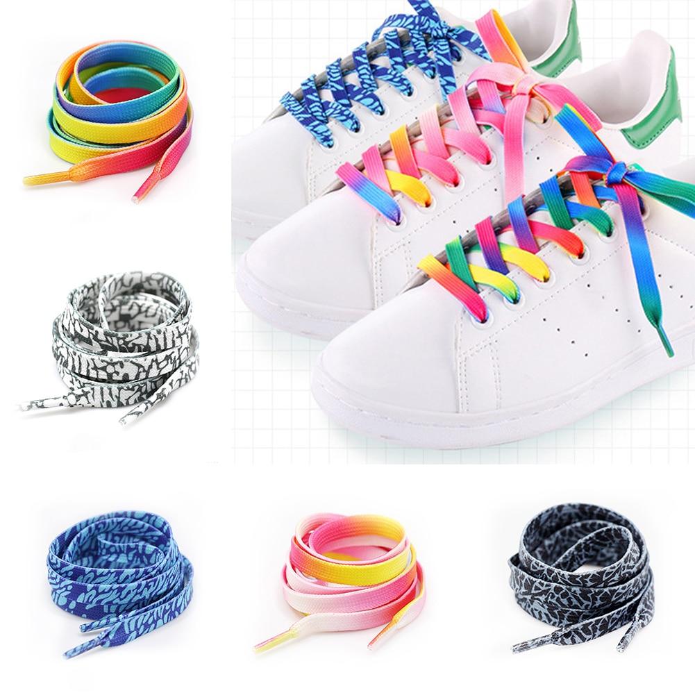 1Pair Colorful Laces Rainbow Gradient Print Flat Canvas Shoe Lace Shoes Casual Chromatic Colour Shoelaces 80CM/100CM/120CM/150CM