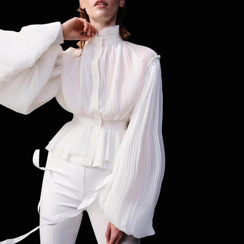 Fashion Women Casual Tops Holiday Ladies Baggy Shirt Blouse Loose Lantern Sleeve Ploka Chiffon Elegant Female Blusas Clothes