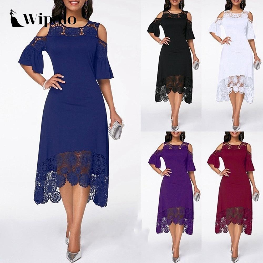 Wipalo Plus Size Women Elegant Party Dress Summer Lace Short Sleeve O Neck Cold Shoulder Irregular Casual Dress S-5XL Vestidos