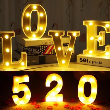 16cm A-Z litera alfabetu światła Marquee znak numer LED Light romantyczny kryty nocna lampka ścienna dekoracja prezent na walentynki tanie i dobre opinie CN (pochodzenie) Z tworzywa sztucznego Alphabet Letter Lights Night Lamp Marquee Sign Letter Light Number Light Decoration Light