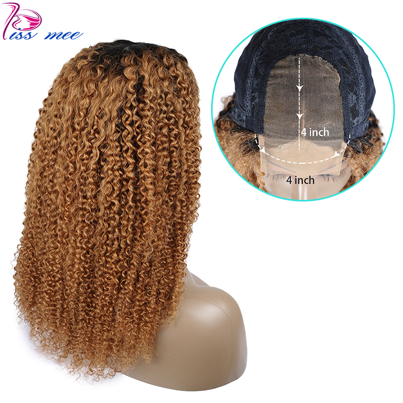 Kissmee 4*4 Lace Closure Wig Ombre Brown Human Hair Kinky Curly Lace Wig Ombre Color T1B 30 Remy Brazilian Hair Wig With Closure