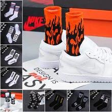 Calcetines de algodón de estilo Hip Hop para hombre, calcetín de moda, llama roja, antorcha, calor, para monopatín callejero, 1 par