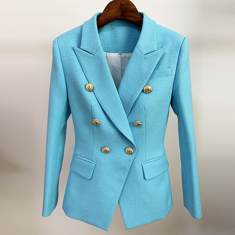 HIGH STREET Newest 2020 Runway Designer Blazer Women's Classic Lion Buttons Double Breasted Slim Fitting Blazer Jacket