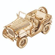 Assembly Jeep Car Model 3D Wooden Puzzle Jigsaw Miniature Kids Educational Montessori
