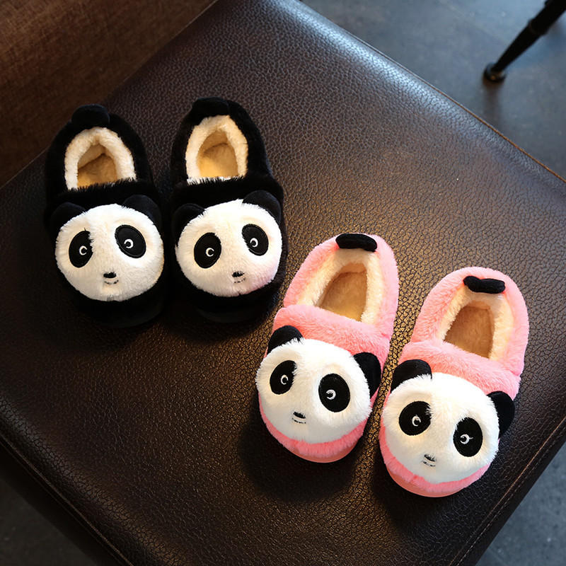 Warm Soft Indoor Kids Slippers Fashion Three-dimensional Cartoon Panda Solid Candy Color Children's Shoes Cotton Slippers
