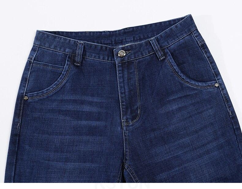 KSTUN Spring and Autumn Men Jeans Classic Straight Business Casual Blue Jeans Stretch Denim Pants Trousers Gentlemen Big Size 13