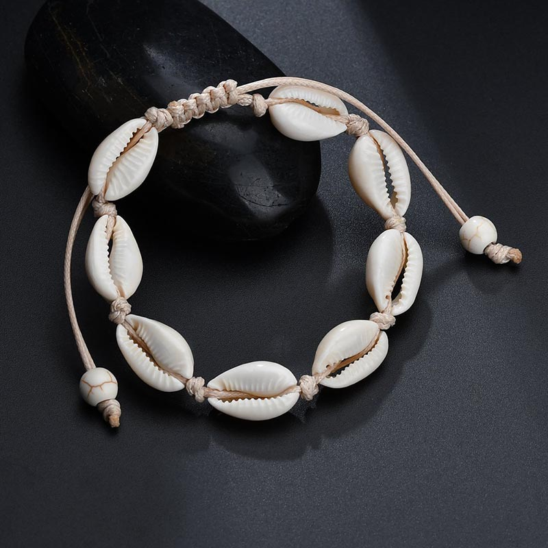 HIYONG Hot Sale Handmade Natural Seashell Hand Knit Bracelet Shells Bracelets for Women Accessories Beaded Bracelet Anklet Gifts in Charm Bracelets from Jewelry Accessories