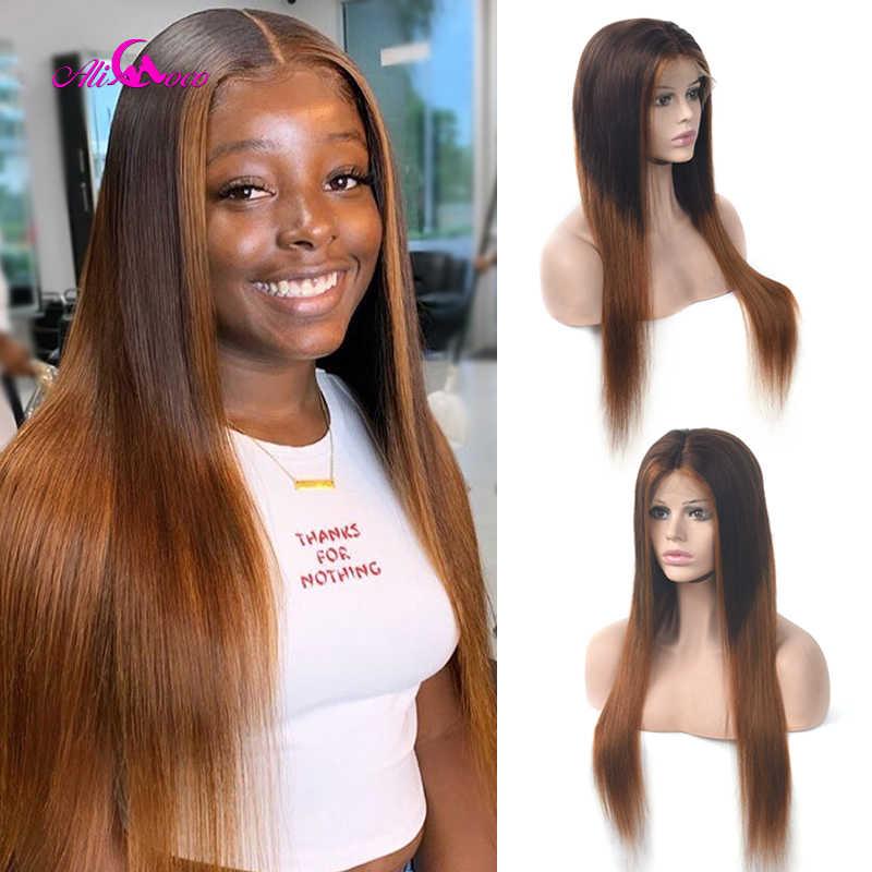 Ali Coco #4/30 wyróżnij kolorowe peruki z ludzkich włosów wstępnie oskubane Ombre 13x4 koronkowa peruka z przodu Remy peruki z ludzkich włosów dla czarnych kobiet