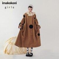 Imakokoni Original Design Loose Camel Polka Dot Dress Large Size Women Japanese Spring New 202892