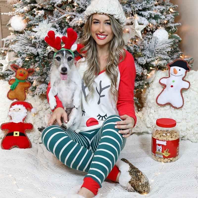 2019 Giáng Sinh Mới Bộ Đồ Ngủ Cho Nữ Mùa Đông Giáng Sinh Hươu In Hình Pyjama Bộ Bé Gái Dễ Thương Áo Và Quần Kawaii Bộ Pyjama femme