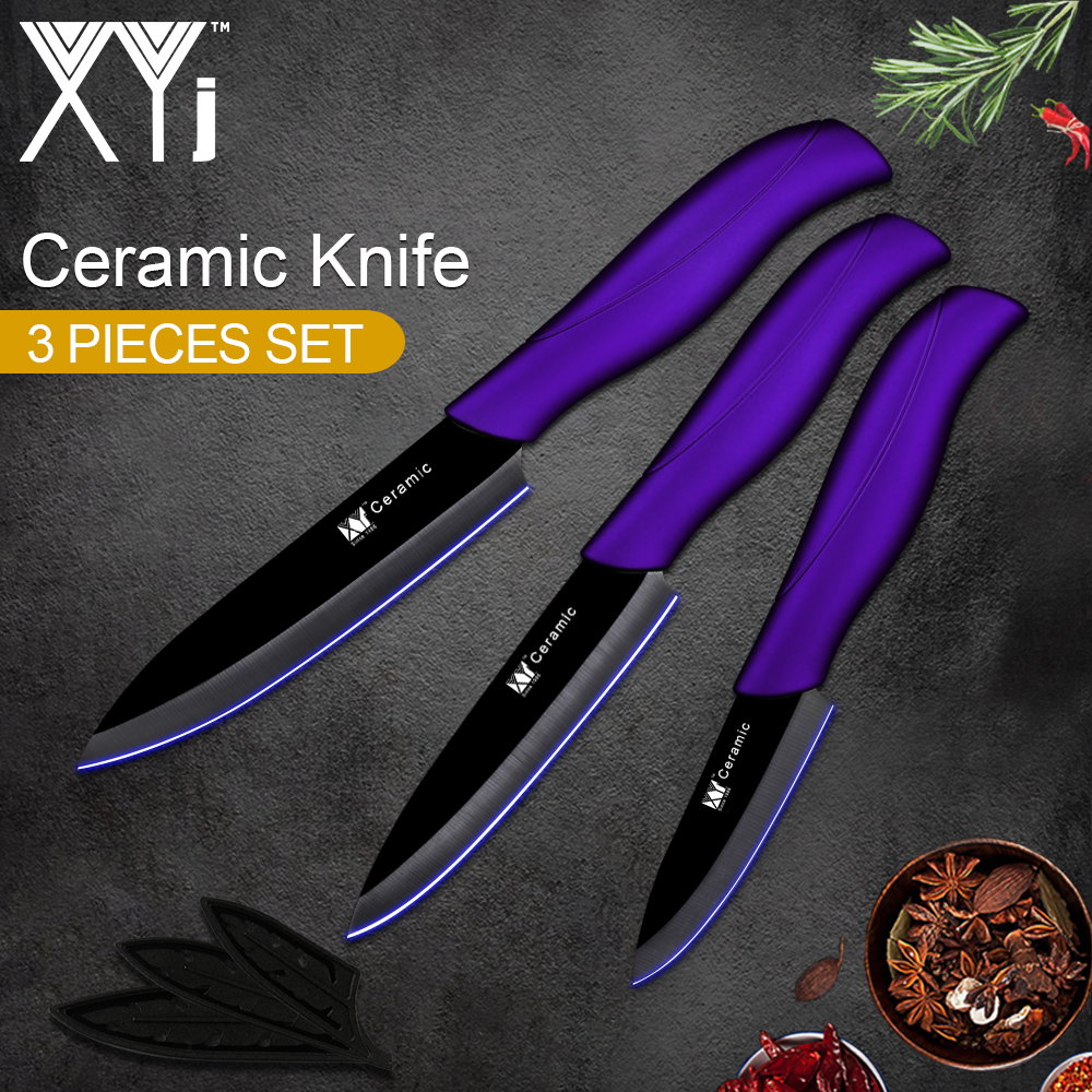 "Juego de cuchillos de cocina de cerámica XYj, nuevo juego de cuchillos de cerámica de cocina de peso ligero 2018, juego de cuchillos de 3 ""4"" 5 ""pulgadas herramientas de cuchillo de cocina"