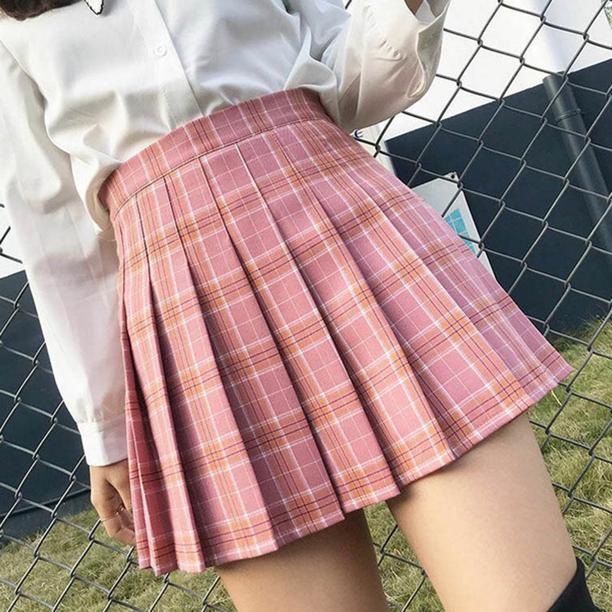 Fashion Mini Flared Pleated Skirt Casual Loose Plaid Tennis Skirt Korean Style A-Line Skirt High Waist Kawaii School Girl Skirt