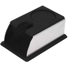 ABSS-кофейная стойка для трамбовки из нержавеющей стали, кофейная Порошковая стойка, силиконовый трамбовочный коврик, аксессуары для кофе, черный