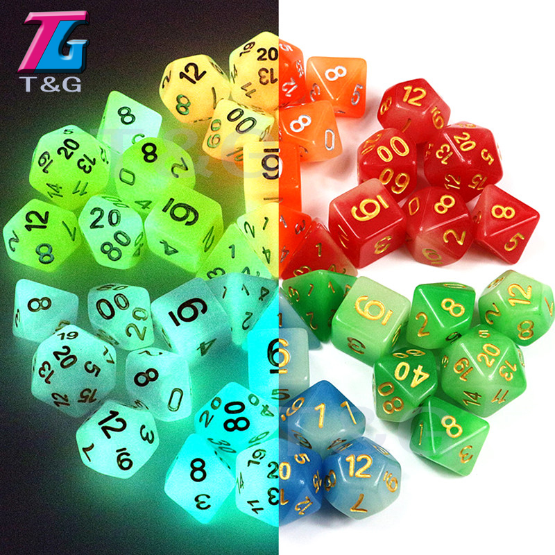 New Arrived 7pc/lot High Quality Mix-Colour Glow In The Dark,Dice For D&D D4,6,8,10,10%,12,20 Set RPG Board Game