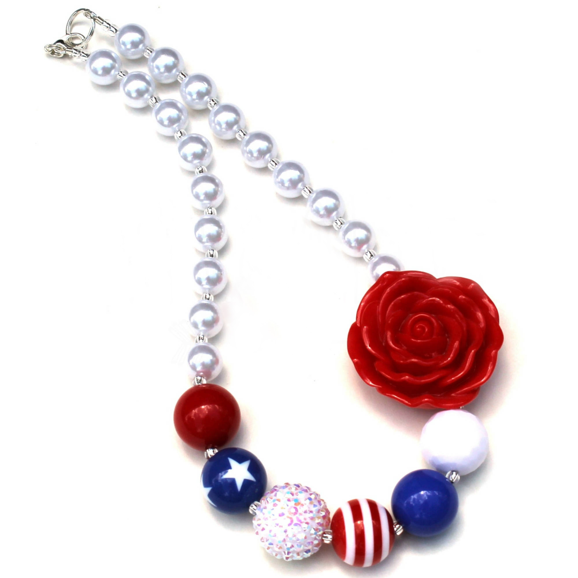 33mm red white /& blue 4th of July star chunky bubblegum metal pendant