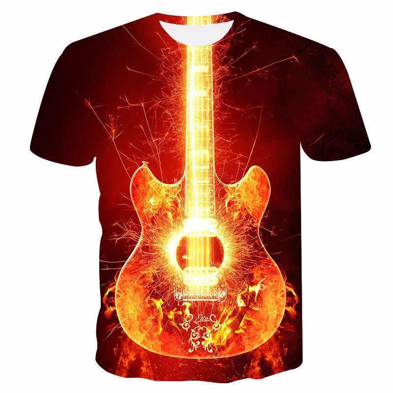 2019 Ngọn Lửa Áo Thun Nam Nhạc Áo Thun 3D Đàn Guitar Áo Phông Cổ Kim Loại Áo Sơ Mi In Hình Gothic Anime Quần Áo Thun Nữ Tay Ngắn Áo Sơ Mi
