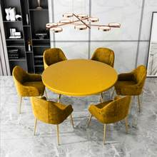 Protetor de pano de cobertura de mesa elástico redondo impermeável toalha de mesa de poliéster catering cabido capa de mesa com elástico afiado 120cm