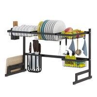 Kitchen Storage Shelf Stainless Steel Sink Drain Rack Sponshouder Kitchen Accessories Bowl Dish Cutlery Furniture