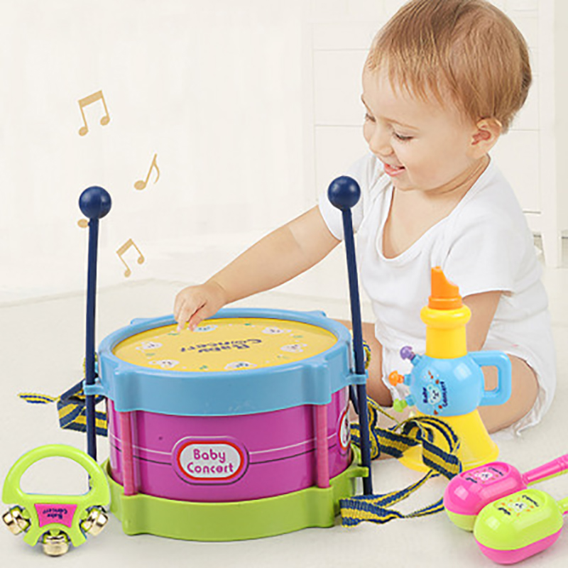 5Pcs Musical Drum Toys Music Percussion Instrument Band Kit Early Learning Educational Toy Baby Kids Children Gift Set