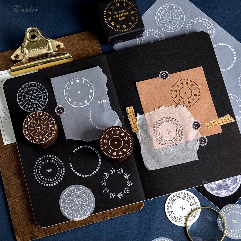 Image 2 - Vintage moon phase calendar clock round stamp DIY wooden rubber stamps for scrapbooking stationery scrapbooking standard stamp-in Stamps from Home & Garden