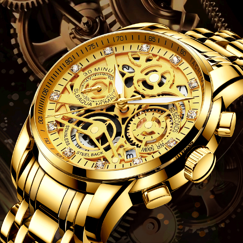 NEKTOM 2020 Men Watches Luxury Top Brand Gold Watch Stainless Steel Big Male Wristwatch Yellow Quartz Sports Watches for Man(China)