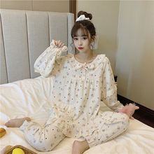 Xifer/Осенняя Хлопковая пижама в Корейском стиле с круглым вырезом