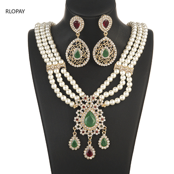 Moroccan Fashion Gold Jewelry Pearls Necklace Set for Bridal  Necklace and Earring Set  Fashion Jewelry Womens Accessories 1