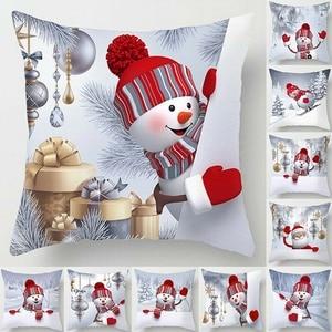 Snowman Christmas Cushion Cover Merry Christmas Decor For Home Noel 2020 Navidad Christmas Ornament Xmas Gift Happy New Year 202