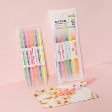 6 colors and 6 double-headed highlighter pens for students with colored strokes marking pen oblique tip highlighter