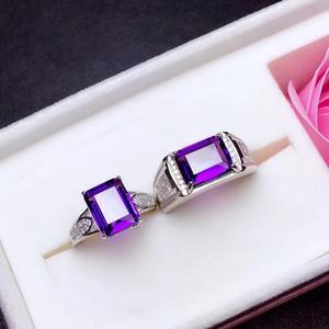 Image 4 - Naturale ametista anello di coppia. Il vero 925 anello Dargento degli uomini. Semplice e squisito. Negoziante consiglia